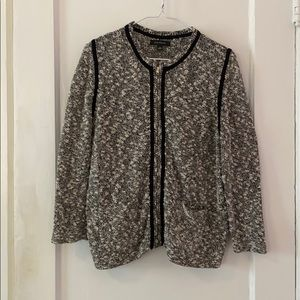 Ann Taylor Cardigan Sweater Black and White